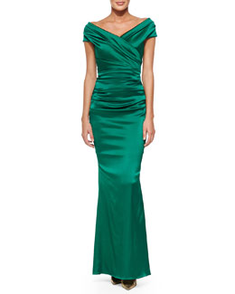 Talbot Runhof Off-Shoulder Ruched Mermaid Gown