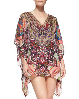 Beaded Printed V-Neck Caftan Coverup