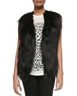 Haute Hippie Cropped Goat Fur & Leather Vest