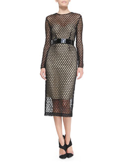 Monique Lhuillier Long-Sleeve Net Lace Midi Cocktail Dress