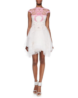 Monique Lhuillier Cap-Sleeve Lace-Bodice Cocktail Dress