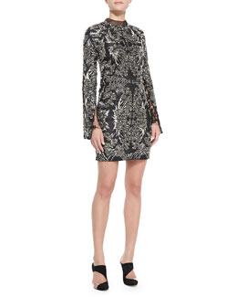 Monique Lhuillier Long-Sleeve Metallic Lace Cocktail Dress