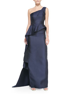 Monique Lhuillier One-Shoulder Draped Peplum Gown