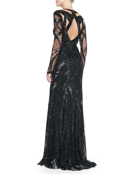 Long-Sleeve Fully-Beaded Gown