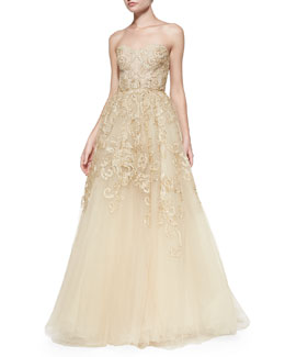 Monique Lhuillier Strapless Embroidered Lace Gown