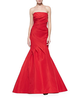 Monique Lhuillier Draped Ruched Mermaid Gown