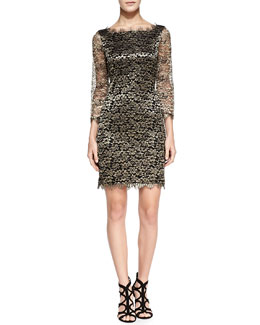 Diane von Furstenberg Zarita 3/4-Sleeve Metallic Lace Dress