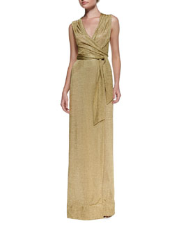 Diane von Furstenberg Sleeveless Metallic Wrap Dress
