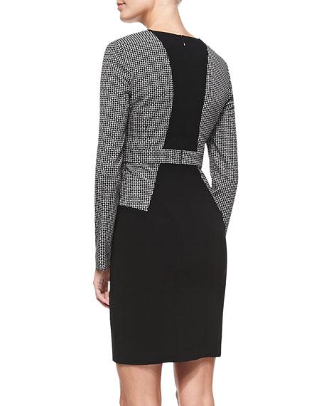 Long-Sleeve Combo Sheath Dress