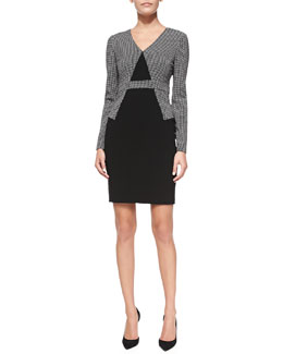 Diane von Furstenberg Long-Sleeve Combo Sheath Dress