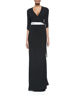 Diane von Furstenberg 3/4-Sleeve Long Wrap Dress