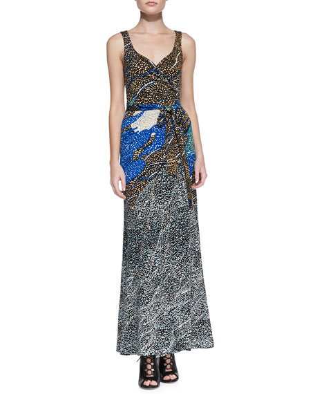 Printed Maxi Wrap Dress