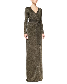 Diane von Furstenberg Long-Sleeve Lamé Maxi Dress