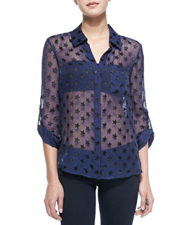 Diane von Furstenberg Lorelei Star-Embellished Sheer Blouse