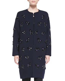 Diane von Furstenberg Long Jewel Flower Coat