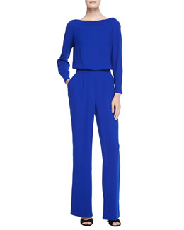 Diane von Furstenberg Long-Sleeve Blouson-Top Jumpsuit