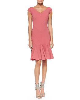 La Petite Robe di Chiara Boni Margherita Bias-Cut Ruffle-Hem Dress