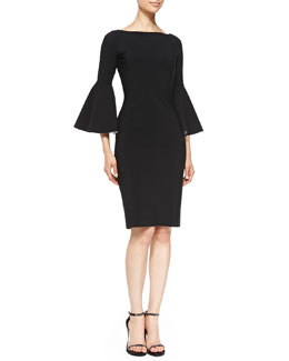 La Petite Robe di Chiara Boni Natalia Sheath Dress with Bicolor Bell Sleeves