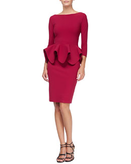 La Petite Robe di Chiara Boni Eden 3/4-Sleeve Peplum Cocktail Dress