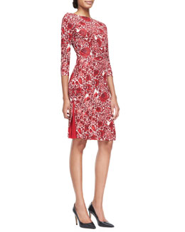 Tory Burch Ria Floral-Print Boat-Neck Sheath Dress