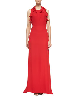 Milly Chelsea Ruffled Silk Halter Gown