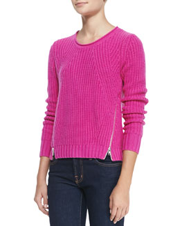 Autumn Cashmere Shaker-Stitch Zipper-Hem Cashmere Sweater, Fiesta