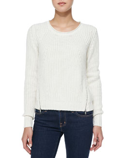 Autumn Cashmere Shaker-Stitch Zipper-Hem Cashmere Sweater, Winter White