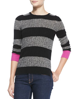Autumn Cashmere Zip-Back Striped Cashmere Contrast Sweater