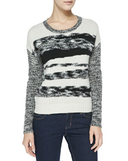 Autumn Cashmere Mixed-Yarn Cashmere Knit Sweater