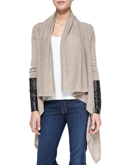 Autumn Cashmere Leather-Sleeve Draped Cashmere Cardigan