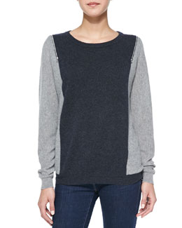 Autumn Cashmere Colorblock Zip-Shoulder Cashmere Sweater
