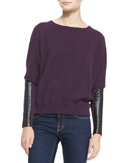 Autumn Cashmere Cashmere Dolman-Sleeve Sweater with Leather, Nightshade