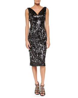 Milly Gemma Sleeveless Sequined Cocktail Dress