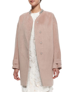 Rebecca Taylor Melton Beaded-Collar Cocoon Coat