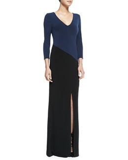 Alice + Olivia Stella Lace-Back Colorblock Jersey Maxi Dress