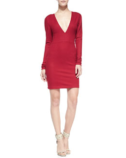 Alice + Olivia Fiona Deep-V Long-Sleeve Sweaterdress