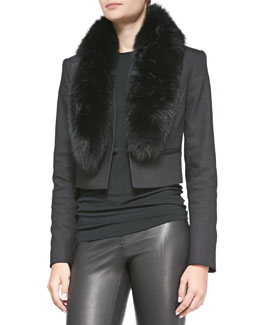 Alice + Olivia Ridley Straight Cropped Jacket with Fur Collar