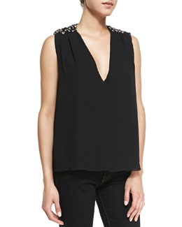 Alice + Olivia Harper Beaded-Shoulder V-Neck Top