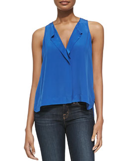 Alice + Olivia Sleeveless Hidden-Placket Top