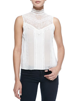 Alice + Olivia Harlow Victorian-Inspired Sleeveless Blouse
