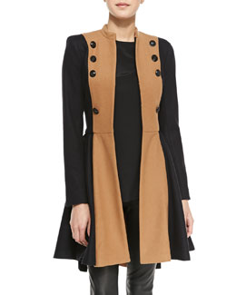 Alice + Olivia Cohen Two-Tone Military Coat