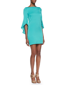 Milly Butterfly-Sleeve Sheath Dress