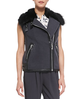 Rebecca Taylor RW Shearling Fur-Collar Twill Vest