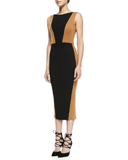 Alice + Olivia Blaze Colorblock Knit Midi Sheath Dress