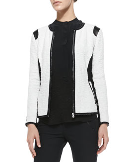 Rebecca Taylor Textured Knit Fitted Jacket