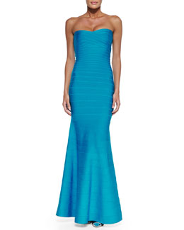 Herve Leger Strapless Bandage Mermaid Gown