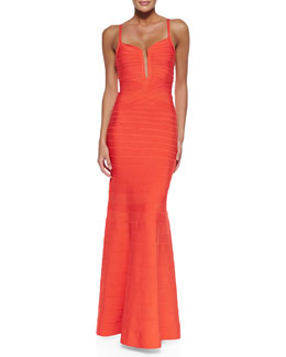 Herve Leger Madelyn Plunging Bandage Mermaid Gown