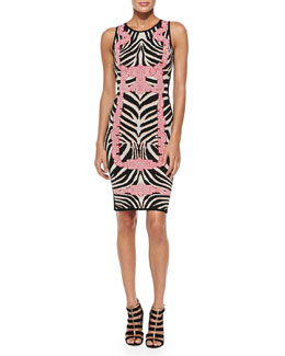 Herve Leger Behati Zebra-Jacquard Knit Dress