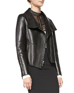 Veronica Beard Leather Funnel-Neck Driving Jacket