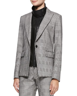Veronica Beard Check Suit Jacket with Leather Dickey
